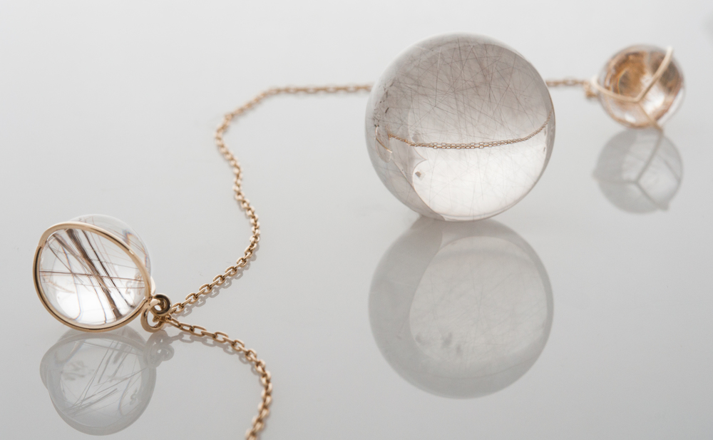 Gladstone rutilated quartz orbs