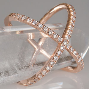 Ilration Isolated Rose Gold Decorative Diamond Criss Cross Ring On A White Background Stock