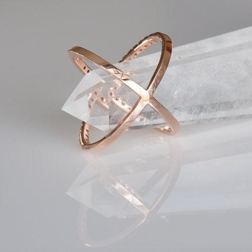 Diamond Crisscross X Ring in 14k Rose Gold — Gladstone Jewelry