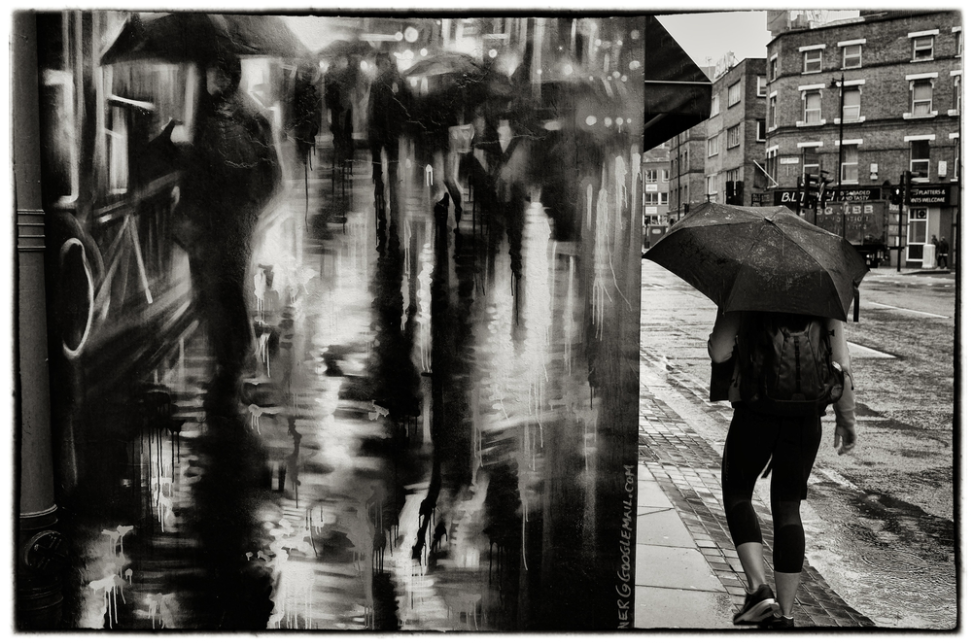 "Shoreditch High Street Rain, East London,  2015, 7 1/2"" x 11 1/2"", 1/5"