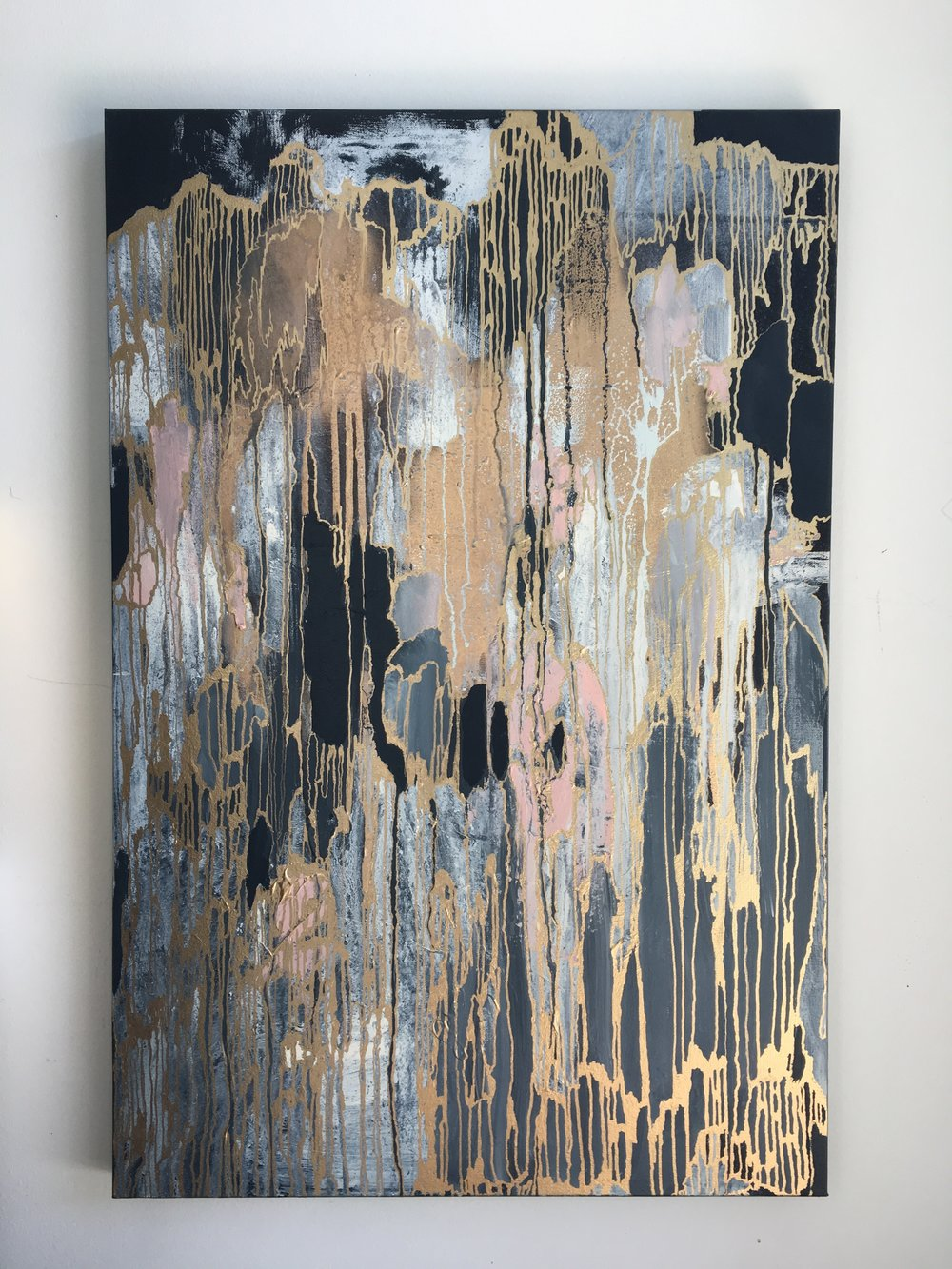 """Untitled, 24"""" x 36"""" Acrylic, gold spray paint and gold leaf pen on canvas"""