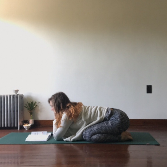 5.) Child's Pose - Let your hips sink toward your heels and take your knees wide in balasana. Try bending your elbows to support your head in the hands.