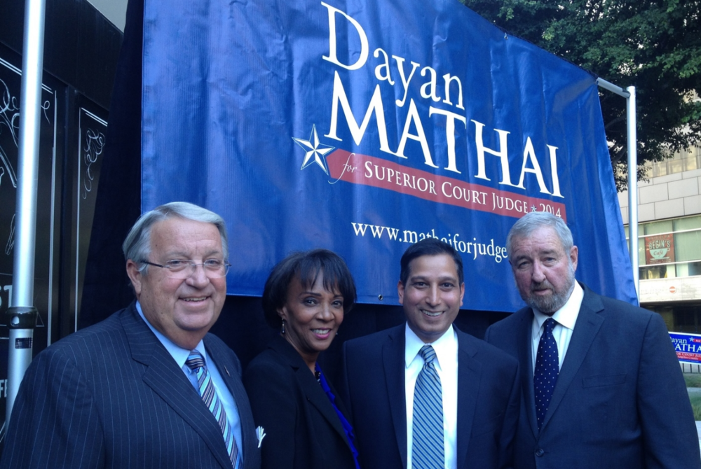 (Left to right: Los Angeles County Supervisor 4th District -Don Knabe,LA County District Attorney -Jackie Lacey, LA County Deputy District Attorney -Dayan Mathai, LA County District Attorney (Ret.) -Steve Cooley)