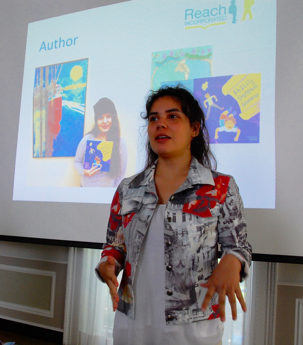 Litzi Valdivia-Cazzol, author of  Khalil's Swagtown Adventure ,  How To Grow Up Like Me , and Flutterbugs (forthcoming)