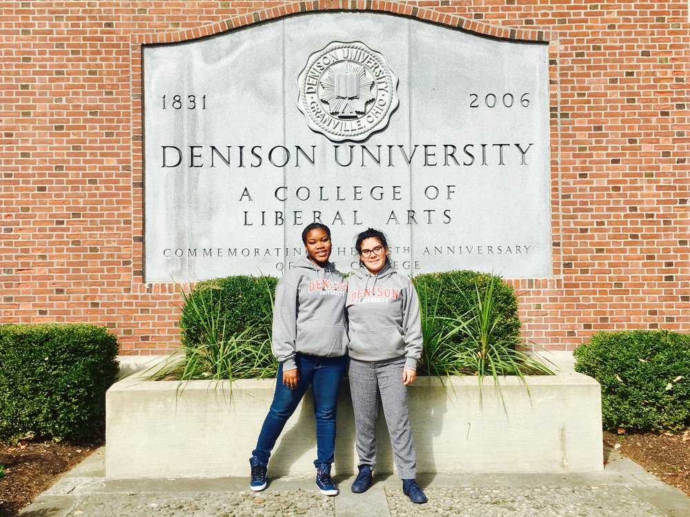 Darne'sha, left, and Litzi, right, in their new Denison hoodies in front of the campus gate!