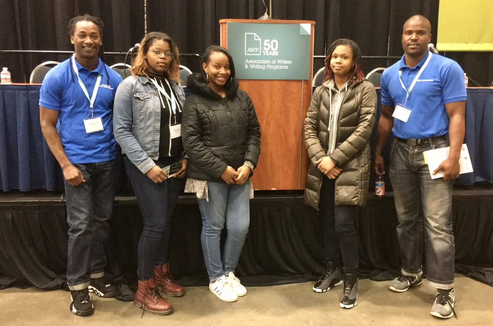 "Terrell and Anthony from Free Minds Book Club & Workshop and Najae, Jonae, Temil, of Beacon House (and authors of the upcoming  The Day Tajon Got Shot)  appeared on a panel titled, ""Black Lit Matters"" at the AWP conference in Feb."