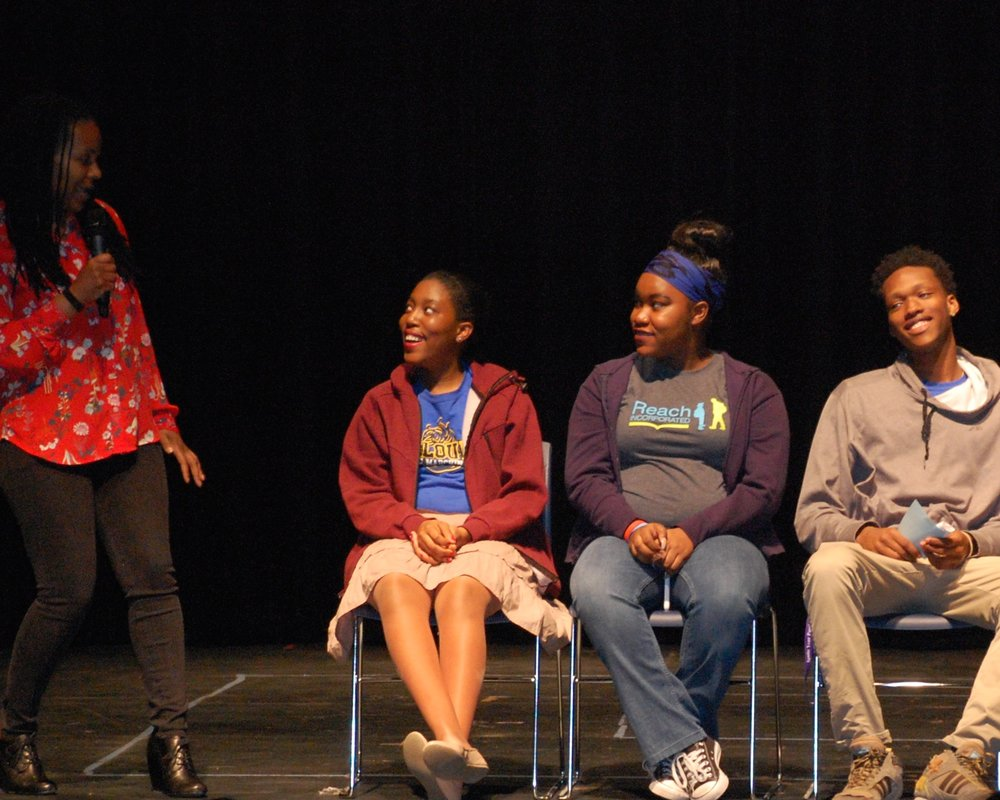 After the show, students joined actors on the stage to talk about the writing process. Here Thembi Duncan from Young Playwrights' Theatre laughs with Diane, Darne'sha, and Mario.