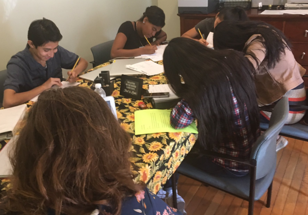 On day 3 of LAYC graphic novel workshop, writers started working on their storyline. Pc: Liz Laribee.
