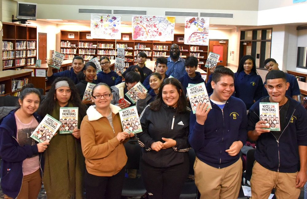 Authors of  Voces Sin Fronteras  sharing their book with DCPS students through the PEN/Faulkner Writers-in-Schools program. SMP authors have given talks to over 750 readers so far this school year!