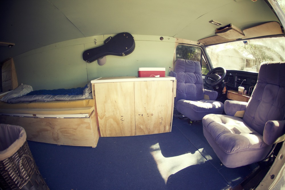 One of the sweetest features of the van is these incredibly comfy chairs that swivel around to make the van into a nice little living room.