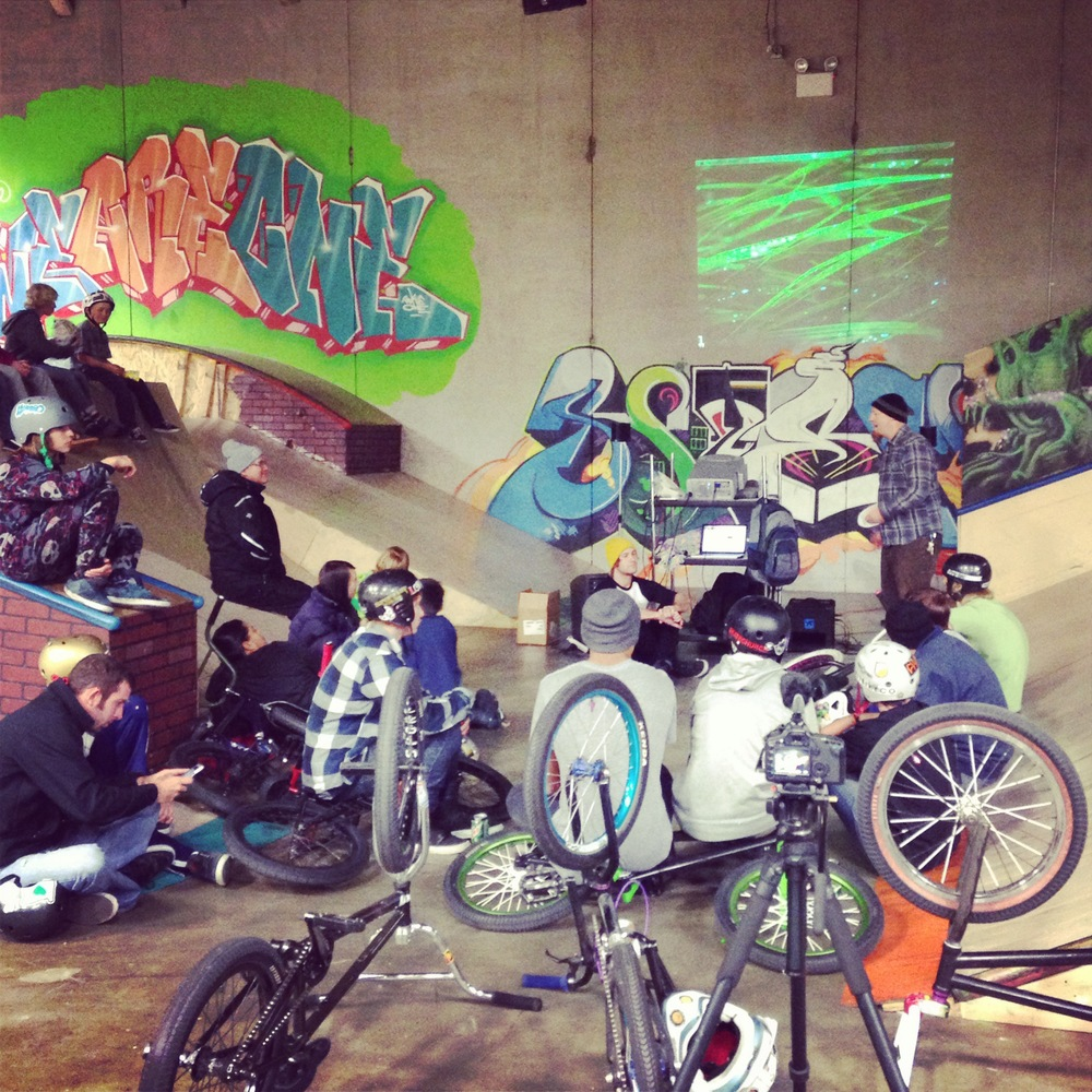 The group that braved the icy roads to make it to SkateChurchSLC.