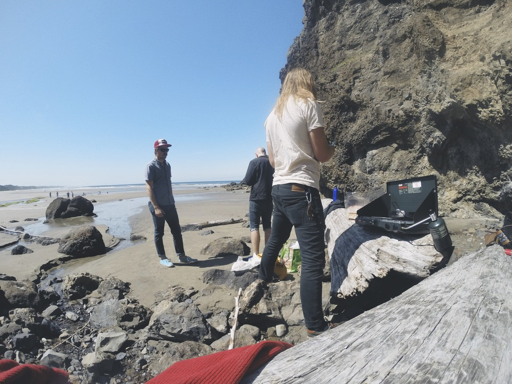 We hiked down to the beach just north of Newport and had a little beach barbie.