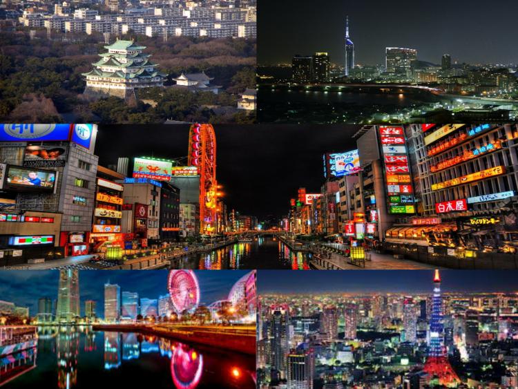 Osaka, Fukouka, Yokohama, Tokyo, Nagoya