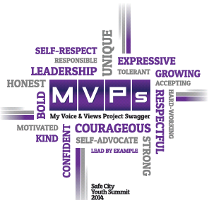 All  Youth   have  to do is use at  least use 10 words  from the MVP logo to express what the theme means to them 3/ 13 /14.