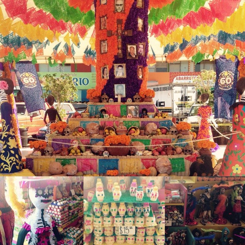 Altar de muertos and supplies for Dia de los Muertos celebration at Mercado Hidalgo in Tijuana, Mexico.