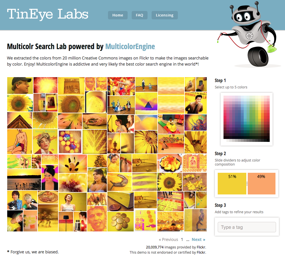 Color search your next color combination inspiration by using TinEye Labs.