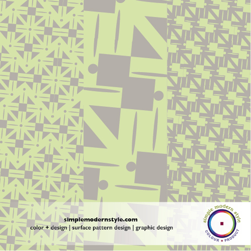"""A """"New Plaid"""" surface pattern design for textiles and paper goods in a luscious mint green and warm gray.  COLORS AND PATTERN DESIGN BY  SIMPLE MODERN STYLE ."""