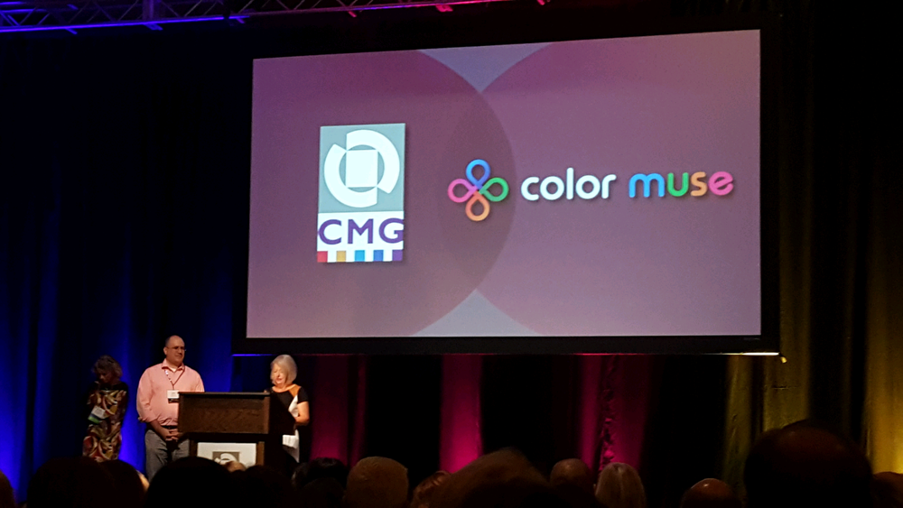 Sandy Sampson at the CMG International Summit presenting the CMG Color Muse