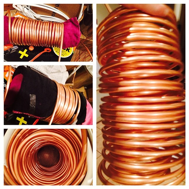 BYOB project (build your own brewery) coiling the copper for the chiller - double coils for a faster chill #homebrew