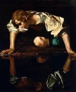 http://en.wikipedia.org/wiki/File:Narcissus-Caravaggio_%281594-96%29_edited.jpg