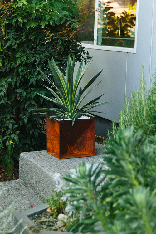 Origami Planter - Weathering Steel — Trey Jones Studio on outdoor patios, outdoor chairs, outdoor lanterns, outdoor furniture, outdoor potted plants, outdoor gifts, outdoor pedestals, outdoor containers, outdoor jewelry, outdoor trellis, outdoor water features, outdoor books, outdoor shelves, outdoor wood walkways, outdoor tables, outdoor garden, outdoor shrubs, outdoor fountains, outdoor animals, outdoor benches,