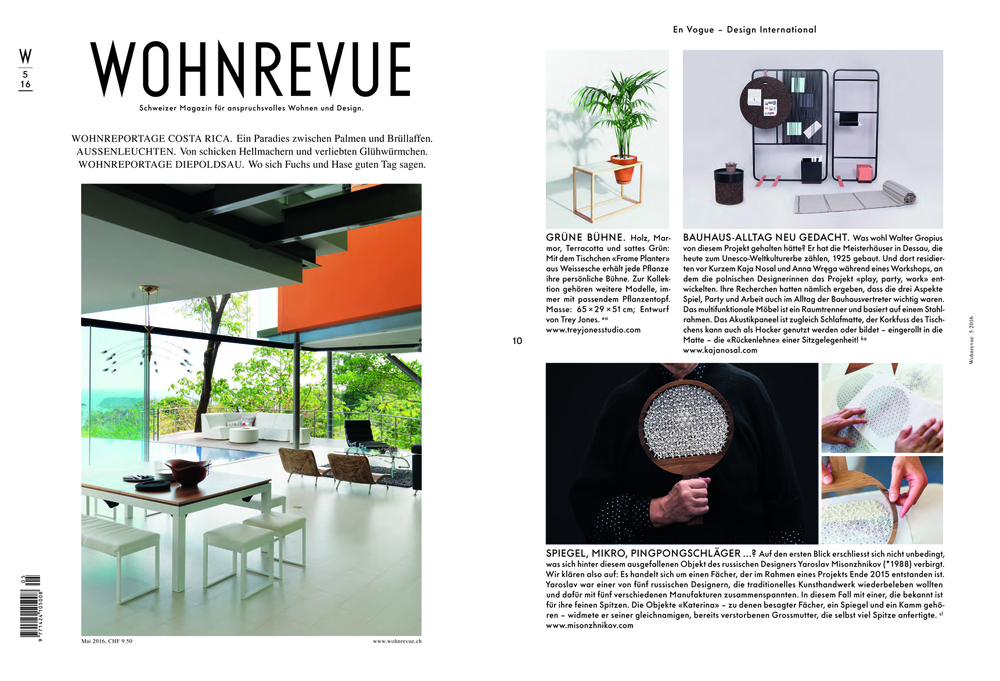 Wohnrevue / Belgian Design Magazine / May 2016
