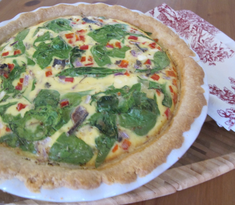 Bacon, Spinach, Feta, Red Pepper and Onion Quiche