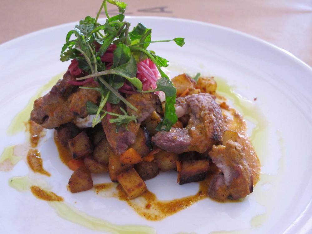 SHORT RIB RENDANG HASH, seared short rib, potatoes, onions, poached egg, rending curry sauce