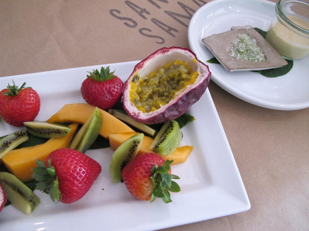 FARMER'S MARKET FRUIT PLATE WITH COCONUT PALM SAUCE AND KAFFIR LIME SALT