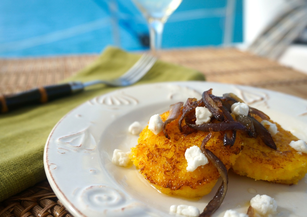 Griddled Polenta Cakes with Caramelized Onions, Goat Cheese and Honey Drizzle