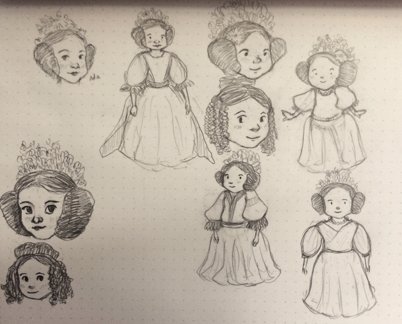 Some Ada Lovelace character sketches. I'm a huge fan of her  famous crazy buns , so I'm hoping to keep those in my final design.