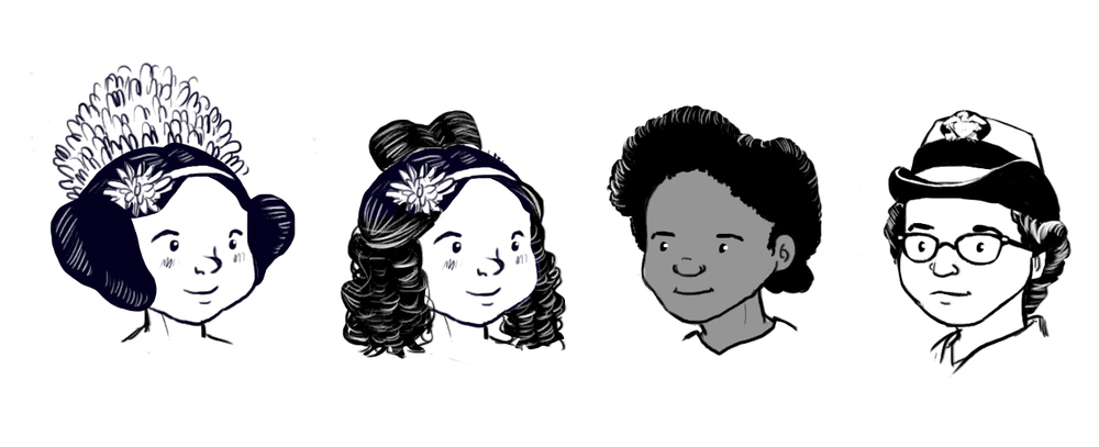 The two on the left are both Ada Lovelace with different hair, but I thought I did a good job distinguishing Evelyn Boyd Granvilleand Grace Hopper