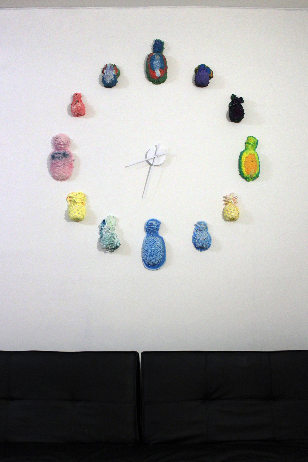 "Elizabeth Ferry,  Pineapple Clock , 2015, Hydrocal, pigment, 40""x40""x2"""