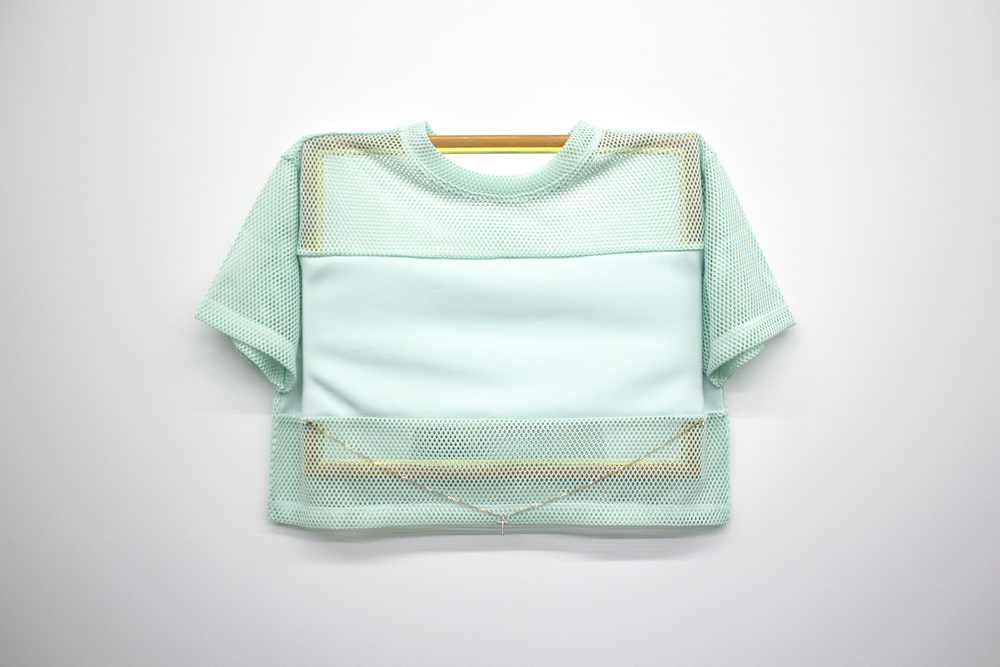 "Jersey Mirror (Belly Chain) , 2015, mirror, women's juniors jersey, necklace, 23"" x 15.5"" x 1"""