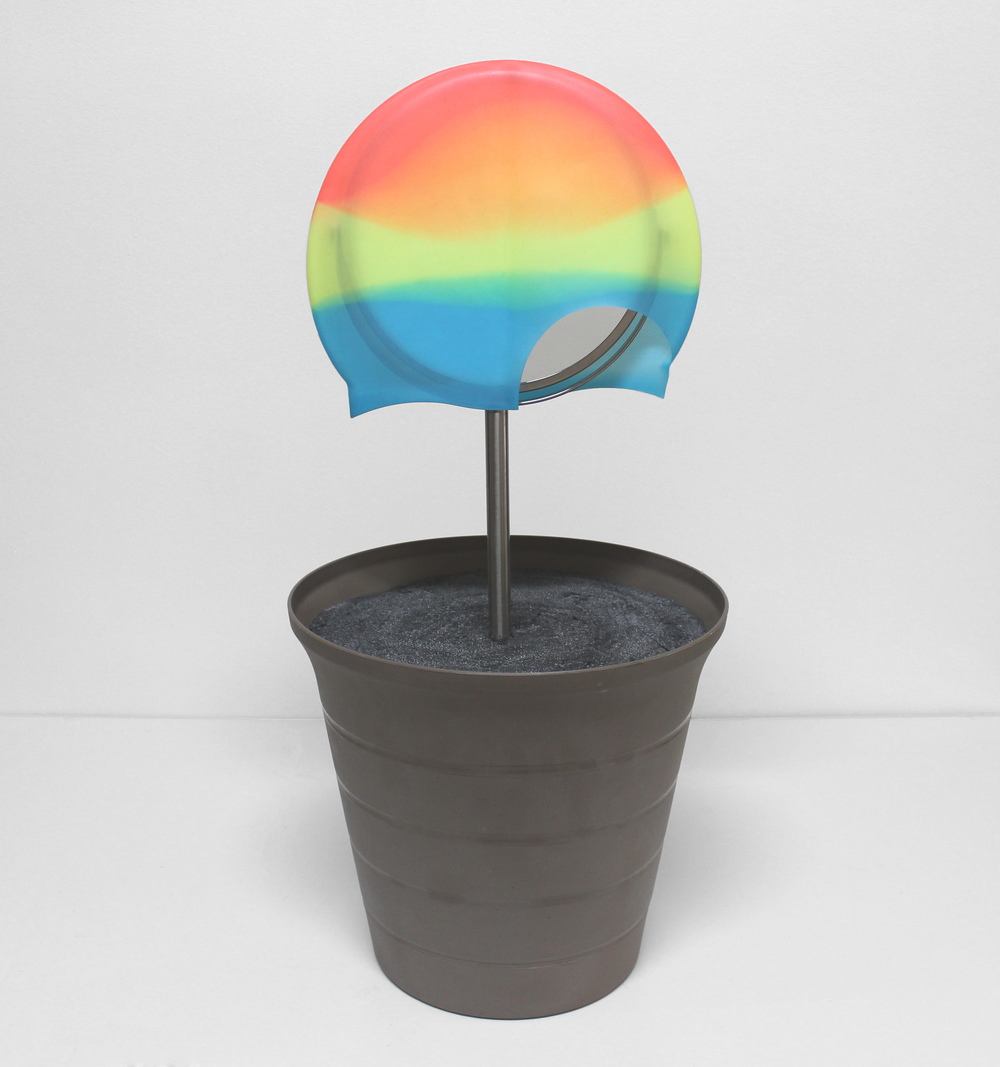 Rainbow   2016  mirror, swim cap, planter, concrete, foam  20 x 10 x 10 inches