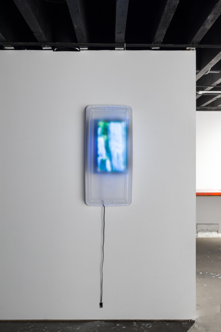Personal Waterfall with Built-In Storage   2016  plastic storage bin, television monitor, continuous loop video  35 x 6.5 x 17 inches  in situ at Alter Space Gallery, San Francisco, CA  photo: Phillip Maisel