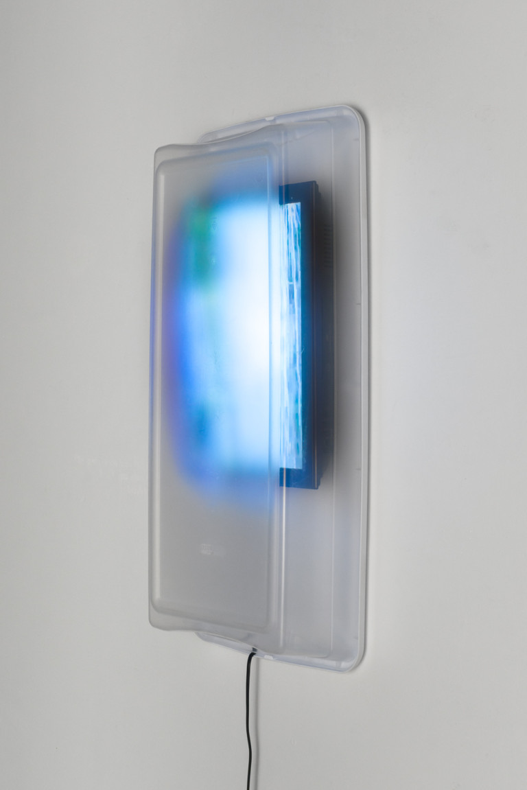 Personal Waterfall with Built-In Storage   2016  plastic storage bin, television monitor, continuous loop video  35 x 6.5 x 17 inches  photo: Phillip Maisel