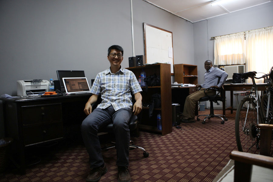 Here I am at my office with my office mate and colleague Etse Sikanku. We co-teach the broadcast journalism course together. He got his PhD from Iowa and just recently moved back to Ghana.