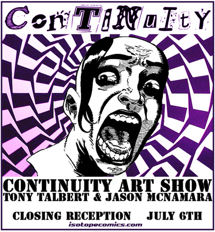 Art Show Flyer designed by James Sime featuring art by Tony Talbert.