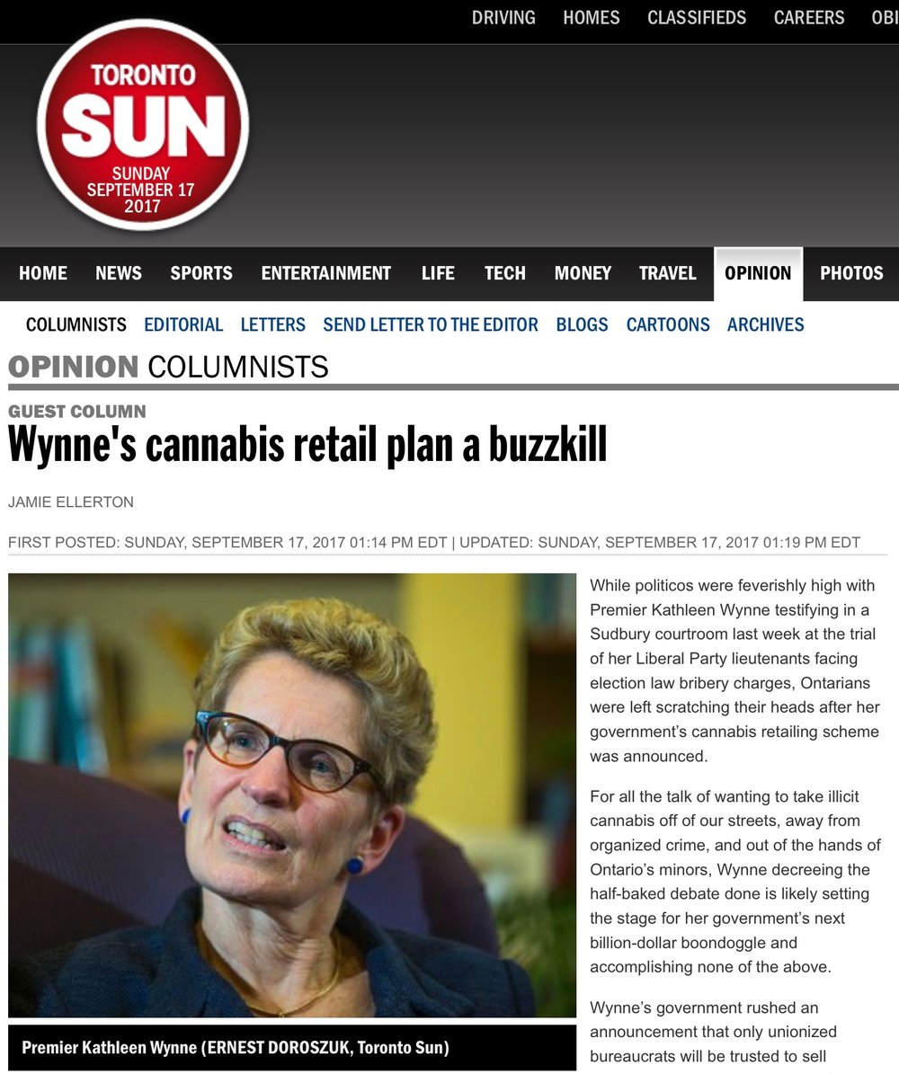 Toronto Sun Op-Ed  - Conaptus Principal Jamie Ellerton writes Premier Wynne missed an opportunity and is setting the stage for failure on cannabis legalization.