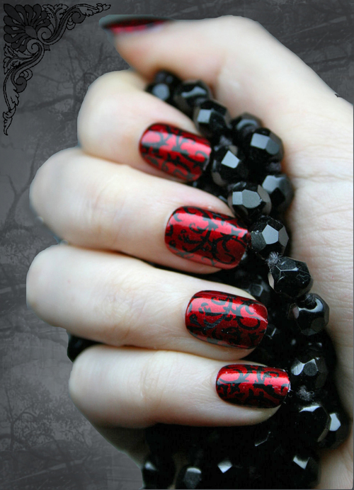 Red Gothic Baroque by NeverTooMuchGlitter - Gothic Nail Art By NeverTooMuchGlitter