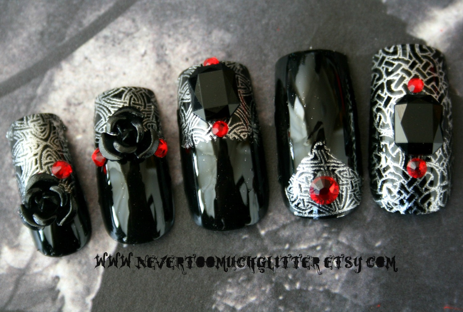 3 d gothic nails gothic nail art by nevertoomuchglitter prinsesfo Gallery