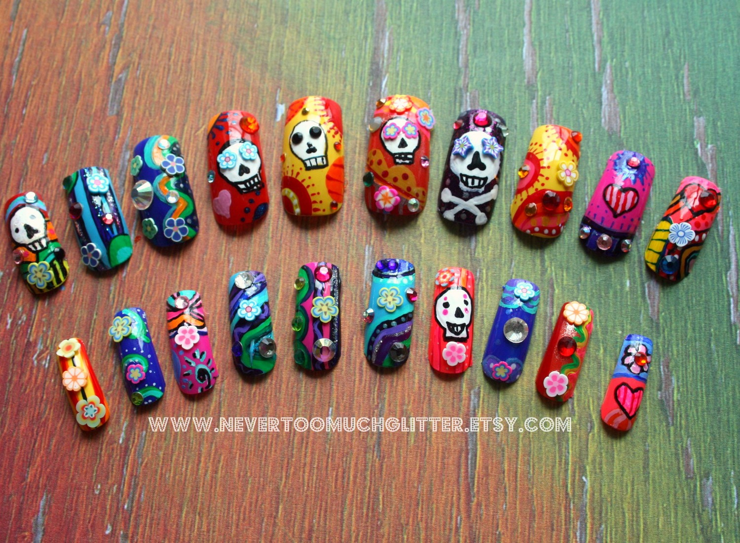Skulls — Gothic Nail Art by NeverTooMuchGlitter