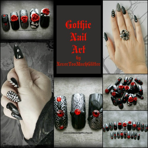 Shop gothic nail art by nevertoomuchglitter shop online at nevertoomuchglittersy publicscrutiny Choice Image