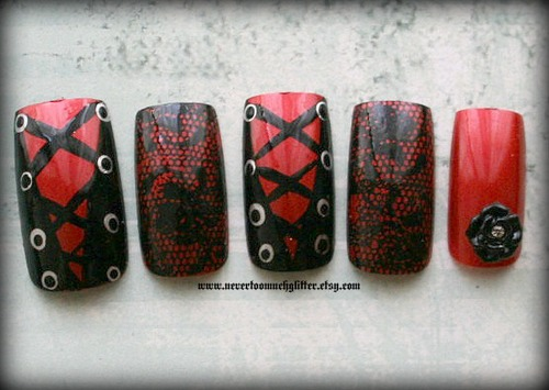 Corset Nails - Gothic Nail Art By NeverTooMuchGlitter