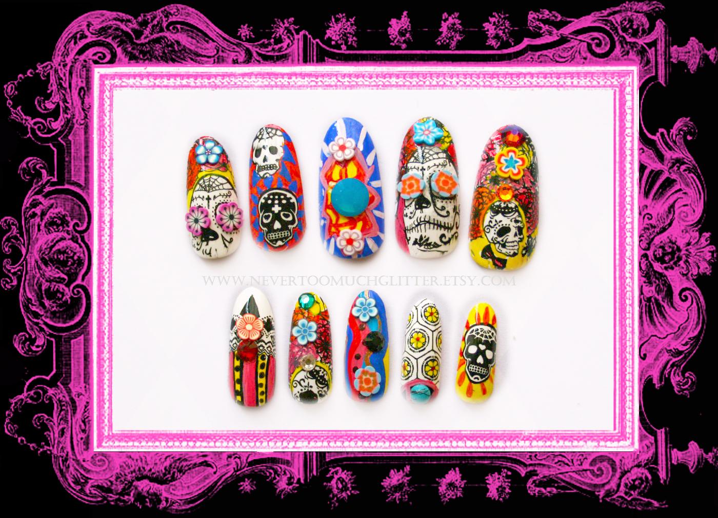 Skulls — Gothic Nail Art by NeverTooMuchGlitter