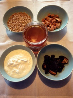 Kamut, hazelnuts, plain yogurt, dried fruit, and Meadow Vista blueberry honey