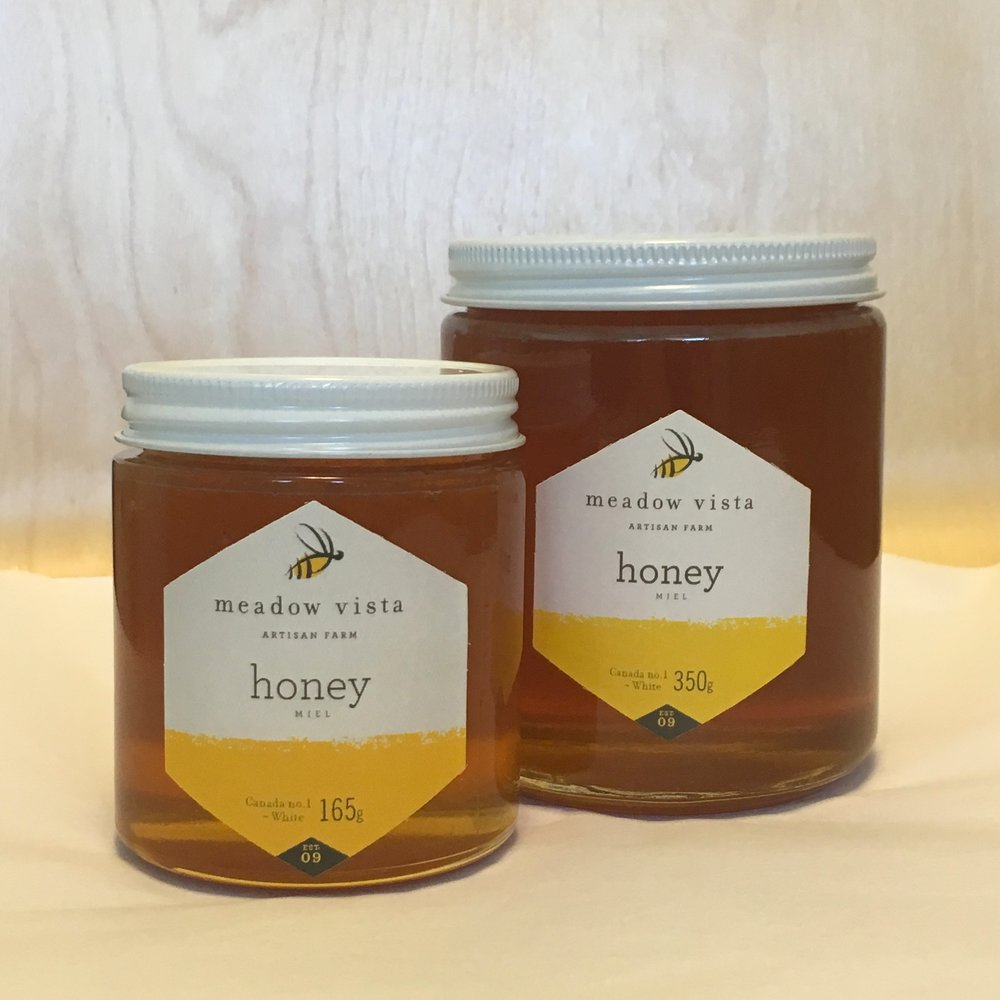 Honey Jars- 160g or 350g  Taste the valley with our Artisan Honey from hives here on the property. Blackberry, lavender and wildflower blossoms create a light, floral honey.  160g: $4.99/350g: $8.75