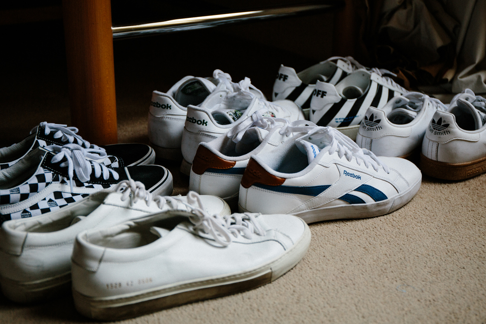 Alex has his go-tos sneakers ready for each outfit.