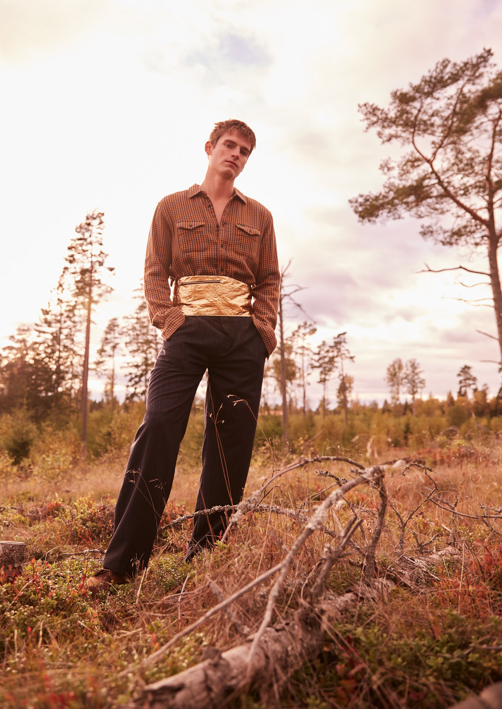Shirt by Wrangler, belt and pants by Johannes Adele, boots by R.M. Williams